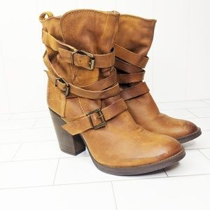 Steve Madden Leather Belted Block Heel Boot